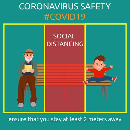 Flat design of coronavirus safety campaign for social distancing Illustration