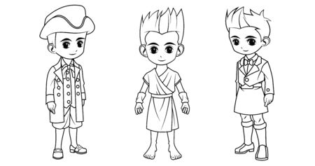 Collection of cartoon boy wearing Greek scottish and swiss costume used for coloring book