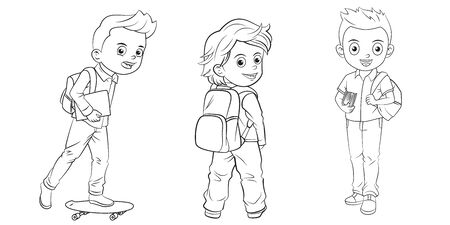 Collection of cartoon schoolchild used for coloring book Illustration