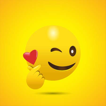 Winking Face Emoji Giving Korean Finger Heart 일러스트