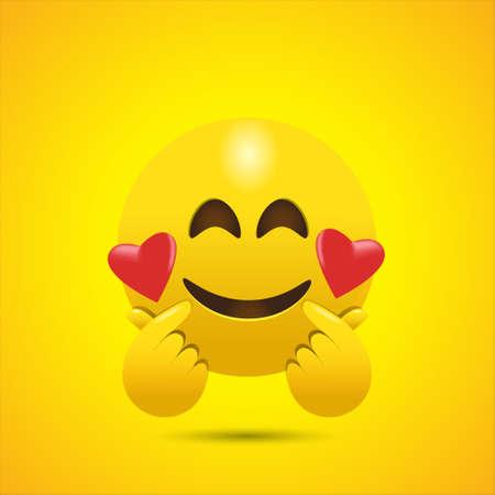 Smiling Face Emoji Giving Korean Finger Heart