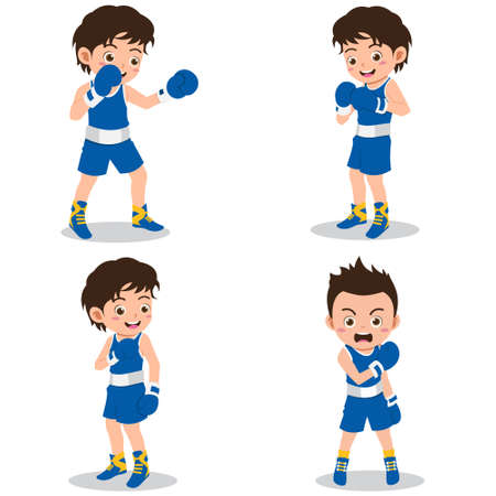 Set of Happy Kids Practicing Boxing
