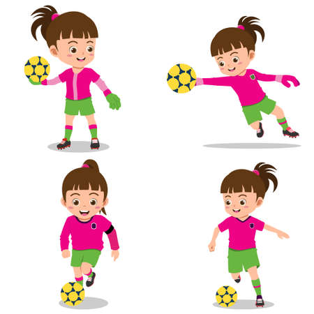 Set of Happy Kids Playing Football