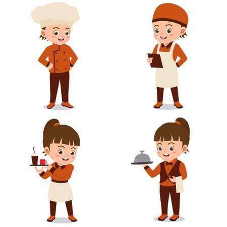Set of Happy Kids Wearing Restaurant Uniforms