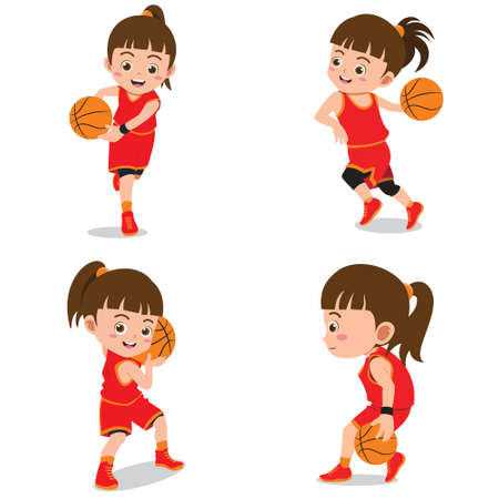 Set of Happy Kids Playing Basketball