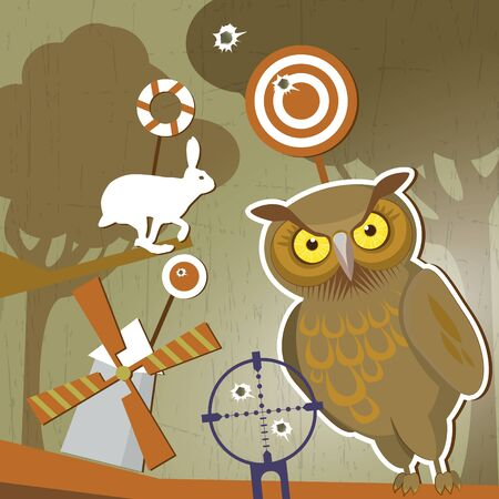 gun holes: Forest shooting-galler Illustration