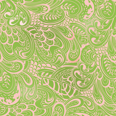 Green spring floral seamless pattern.