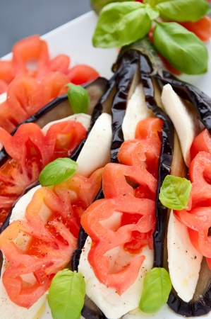 Creative Appetizer Aubergine with mozzarella, tomato and basil photo
