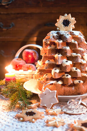 Pandoro (pan doro) is a traditional Italian sweet yeast bread, most popular around Christmas and New Year.  photo
