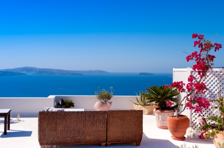 aegean sea: Beautiful View of Mediterranean Santorini Aegean Sea Seascape Stock Photo