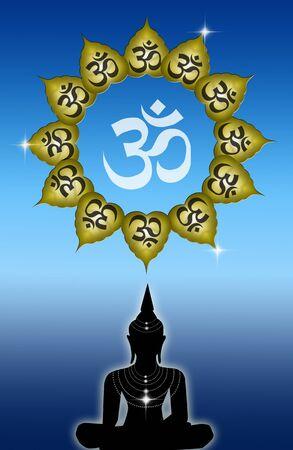 illustration of Buddha with Om symbol Stock Illustration - 19094568