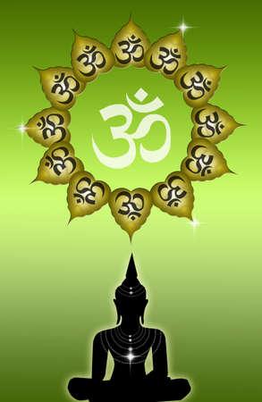 illustration of Buddha with Om symbol Stock Illustration - 19094558