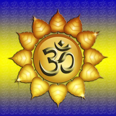 om symbol: Om symbol and Buddha Stock Photo