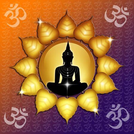 Om symbol and Buddha photo