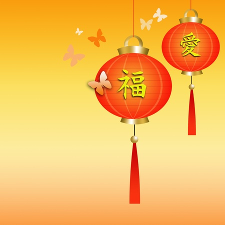 Chinese lanterns with butterflies photo