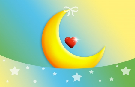 moon with heart for sweet dreams