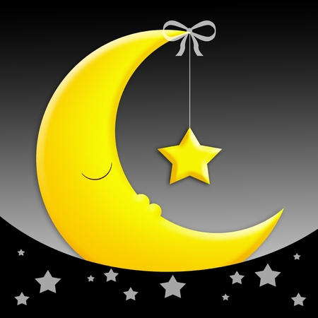 good evening: moon with star for sweet dreams