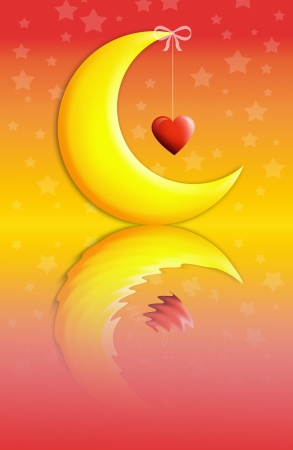 good luck symbol: Moon reflection with heart for Valentine s Day