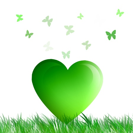 bio with green heart for ecological concept