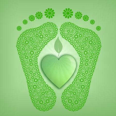 green footprint: green footprint for ecology Stock Photo
