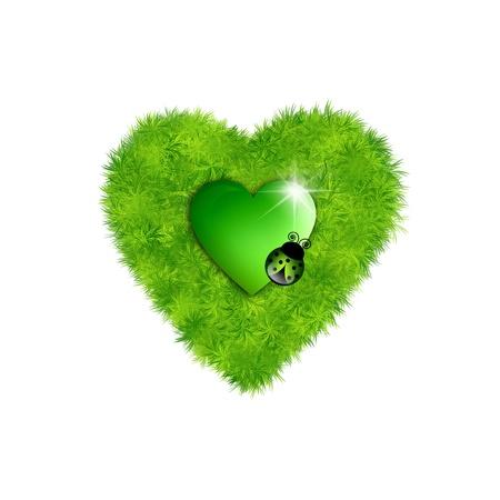 Green grass heart Stock Photo