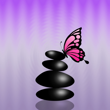 Stone with butterfly Stock Photo