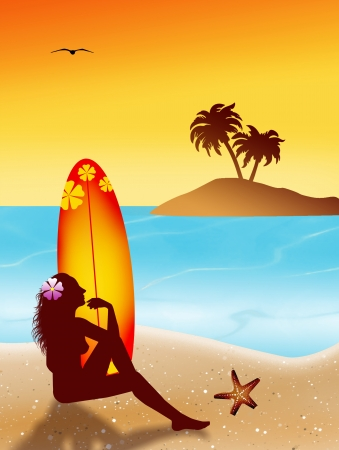 woman silhouette with surf Stock Photo