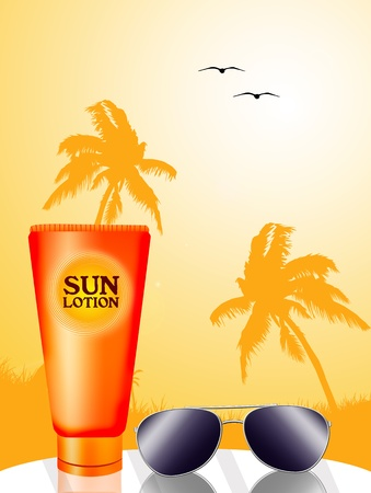 sun lotion: Sun lotion for tunning with sunglasses