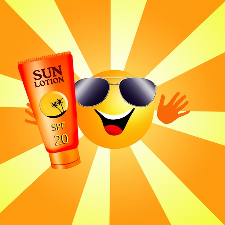 sun lotion: sun with sun lotion for tanning Stock Photo