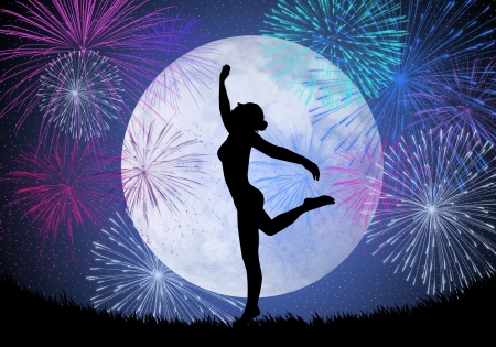 Dancing in the moonlight with fireworks photo