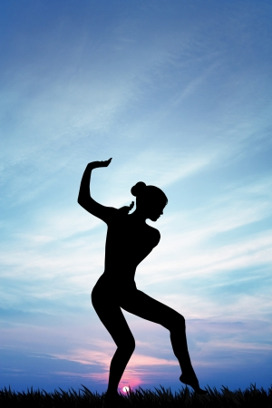 hip hop silhouette: Dancer at sunset Stock Photo