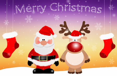 Santa Claus with reindeer  for Merry Christmas photo
