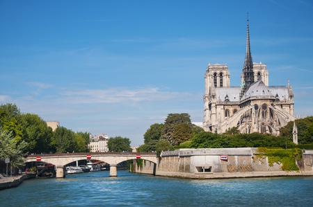 Notre Dame cathedral on ile de la Cite from Seine