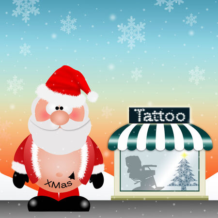Santa Claus with tattoo for Christmas