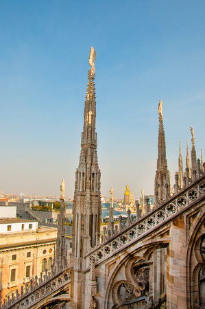 buttresses: View of Milan Cathedral in Italy