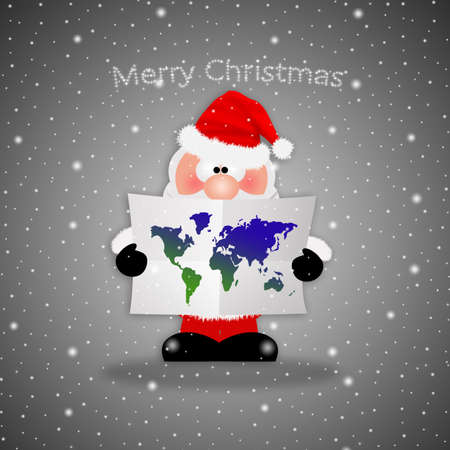 Santa Claus with map Stock Photo