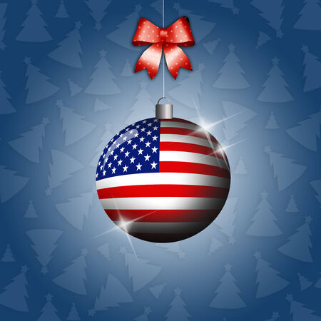 Christmas ball with flag of USA photo