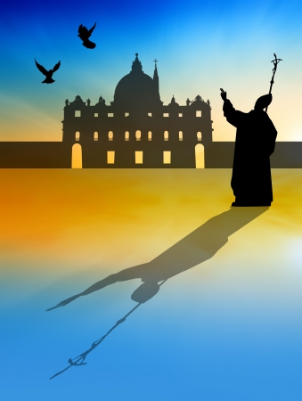 beatification: Pope silhouette