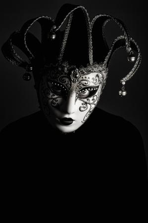 giullare: un ritratto con maschera Jester Archivio Fotografico