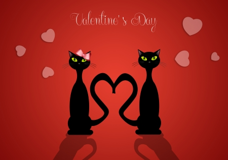illustration of two cats in love for Valentine