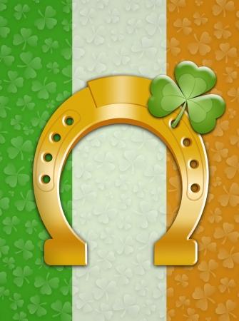 saint paddy's: horseshoe with Ireland flag in St  Patricks Day