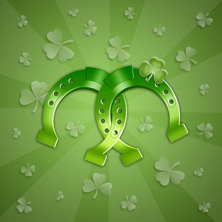 st paddy s day: green Horseshoe for Happy St  Patrick Day Stock Photo