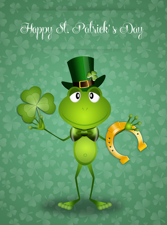 st paddy s day: Green frog with clover and horseshoe in St Patrick Day