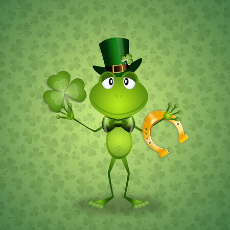 st paddy s day: Green frog in St Patrick Day Stock Photo