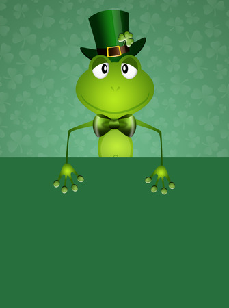 saint paddy's: Green frog with hat in St Patrick Day Stock Photo