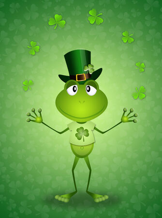st paddy s day: Green frog with clovers in St Patrick Day Stock Photo