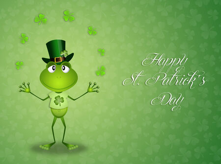 st paddy s day: Green frog with clovers in St Patrick Stock Photo