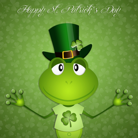saint paddy's: Green frog in St Patrick Day Stock Photo
