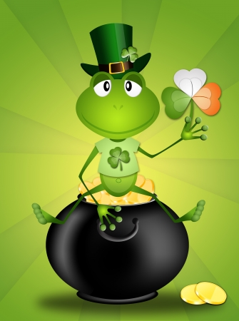 st paddy s day: frog sitting on a pot with money