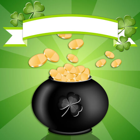 Pot with money for St  Patrick